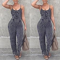HLIYY Chic Femmes sans Manches Rayé Combinaison Combi-Short, Mesdames Casual Long Combishort Lady Pantalon Large Jambe Outfit Clubwear D'été Vêtements