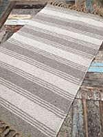 Natural Cotton & Jute Grey Off White Stripe Rug 60cm x 90cm by Second Nature Online