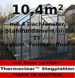 9 - 12m² PROFI ALU Gewächshaus Glashaus Treibhaus inkl. Stahlfundament u. 4(6) Fenster, mit 6mm Hohlkammerstegplatten - (Platten MADE IN AUSTRIA/EU) inkl. 2 autom. Fensteröffner von AS-S, Größe:10.4m²