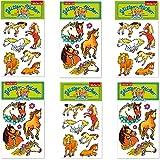 6-teiliges Glitter-Sticker-Set * PFERDE und PONYHOF * vom Mauder Verlag | Kinder Aufkleber Kindergeburtstag Geburtstag Mitgebsel Geschenk Mädchen Glitzer Pony Reiten Reiterhof Reiterferien Reiturlaub