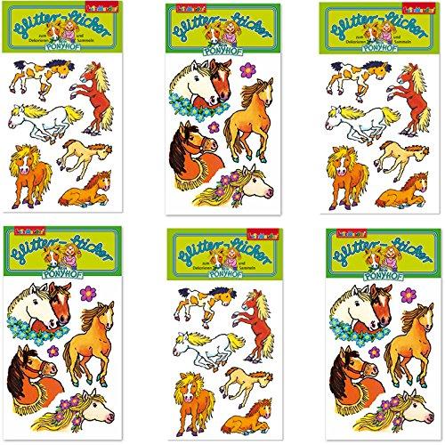 ticker-Set * PFERDE und PONYHOF * vom Mauder Verlag   Kinder Aufkleber Kindergeburtstag Geburtstag Mitgebsel Geschenk Mädchen Glitzer Pony Reiten Reiterhof Reiterferien Reiturlaub ()