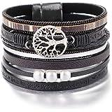 Bracelets de Bracelet en Cuir de l'arbre de Vie de l'UEUC, Brassard Multicouche Magnifique à la Main de Boho avec Boucle magn