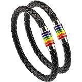 Phogary Brazalete De Orgullo Gay Pulsera De Arco Iris (2 Paquetes), Brazalete De Cuero Negro De Pareja Brazalete De LGBT De M