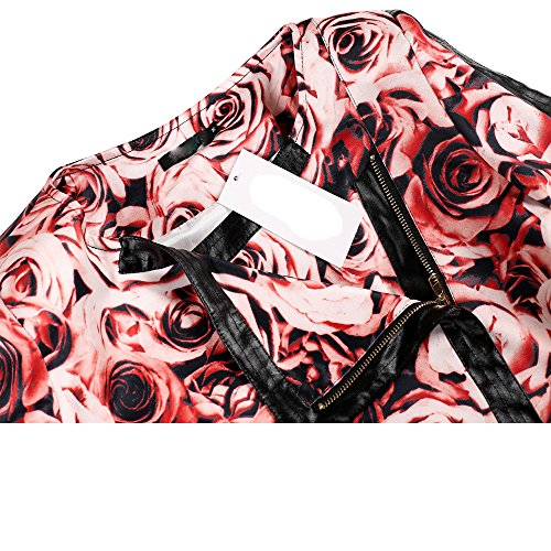 Teamyy Damen Mantel Langarm Mantel mit Rundhals Revers Elegent Blumen Trenchcoat Rot