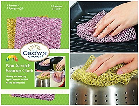 Non-Scratch HEAVY DUTY Scouring Pad or Pot Scrubber Pads (3 Pks of 2) | For Scouring Kitchen, Dishwashing, Cleaning | Nylon Mesh Scrubbing Scrubbies | Scrub Pads Cloth Outlast ANY Sponges by The Crown Choice
