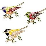 CAILI 3 Spilla di Uccello,Superba Spilla Animale,Spilla di Olio Dipinto di Rami di Alta qualità,Punta per Punte Squisita,Gioi