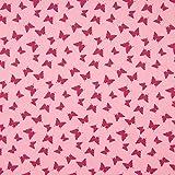0,5m Stoff Baumwolle Schmetterlinge auf Punkten rosa 100%