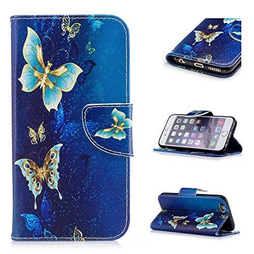 Custodia per iPhone 6 Plus / iPhone 6S Plus, Hancda Modello Elegante Disegni Cover Funzione Stand Custodia in Pelle Portafoglio di Cuoio Libro Sottile Flip Case Protettiva Chiusura Magnetica Antiurto Farfalla blu oro