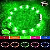 LED Hundehalsband, USB wiederaufladbar, Glowing Pet Hundehalsband Licht für Nacht Walking Sicherheit, wasserabweisend Blinklicht Up Dog Halskette für kleine, mittlere, große Hunde, 27.56 inches, grün
