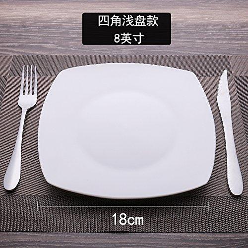 MLGG La Plaque Carrée Plaque Blanche Pure De Vaisselle en Céramique, 8 Pouce, F
