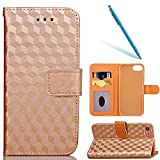 Custodia in Pelle per iPhone 8, iPhone 7 Wallet Cover, CLTPY 3D Creativo di Lusso Coprivetrini in Stile Libro con Porta Carte e Cavalletti per Apple iPhone 7/8 + 1 x Stilo Libero - Geometria d'Oro