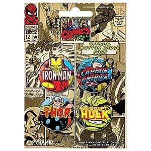 Marvel Comics (Set 2) - Badge Pack de 4pcs 38mm - Pyramide
