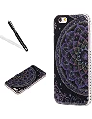 Coque Housse Etui pour iPhone 6S Plus (5.5 Pouces),Portable Coque iPhone 6 Plus,Leeook Coque en Silicone avec Bling Diamant Briller Violet Fleur Soft Gel Silicone Case Cover Etui de Protection Cas en caoutchouc en Ultra Slim Souple Gel TPU Bumper Case Cover Coque Etui pour iPhone 6S Plus/6 Plus (5.5 Pouces) + 1 x Noir Stylet-Purple Flower