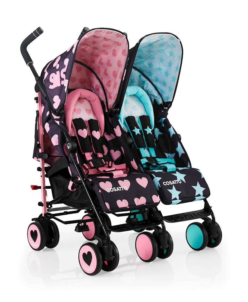 Cosatto Supa Dupa Double/Twin Stroller, Suitable from Birth, Sis and Bro 5 Cosatto Supa dupa is a compact from-birth double stroller. it's lightweight but sturdy. the stowaway auto stand makes it great for home or car storage. With upf50+ extendable hoods, rain cover and fleece-lined foot muffs, supa dupa in charge, rain or shine.  the handy compact fold means you can hop on and off transport. Each seat has its own recline - so whatever their age, whatever their stage, whatever their mood that day, they're happy. 2