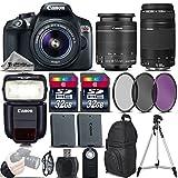 #5: Canon EOS Rebel T6 DSLR Camera + 18-55mm is II Lens + Canon 75-300mm Lens + Canon Speedlite 430EX III RT + 64GB Storage + Backup Battery + UV-CPL-FLD Filter Kit + Wrist Grip - International Version