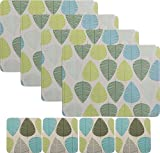 Set of 8 Blue & Green Leaf Placemats & 8 Coasters