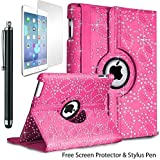 Diamond Bling Leather Folding Diamante Folio 360 Degree Rotate Swivel Stand Case Cover For Apple iPad 4 3 2 With Free Stylus Pen & Screen Protector (Baby Pink)