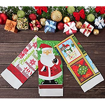 festive set of 3 new xmas tea towel christmas kitchen towels santa - Kitchen Towels New Design