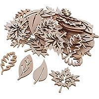 IPOTCH 50 Pièces Embellissement en Bois en Forme de Feuilles pour Decoration de Table Maison Fête Noël Scolaires Chambre…
