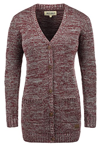 DESIRES Philemona Damen Lange Strickjacke Cardigan Grobstrick Winter Longstrickjacke mit V-Ausschnitt, Größe:S, Farbe:Wine Red Melange (8985)