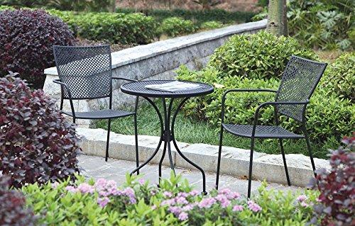 Balkonset, 3teilig, Stapelstuhl mit Armlehne und Tisch aus Stahl, schwarz, Balkon-Sitzgruppe