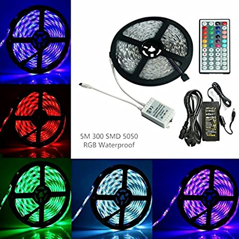 Sunface LED 5050 RGB Waterproof LED Light Strip Set - 5M Strip Lights Flexible 300leds SMD RGB Colour Changing LED Rope Light with 12V5A Power Supply+ 44 Key IR Receiver Controller Suitable for Outdoor Light Decoration,Bedroom, TV, Home decorative lighting