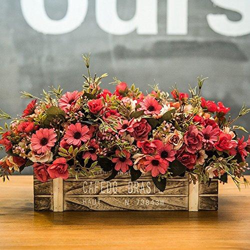 Flinfeays fiori artificiali falsi fiori creativi in legno recinzione fai da te regalo vacanza festa di nozze cucina home decor vaso di fiori in legno pentola molto realistico rosso-55
