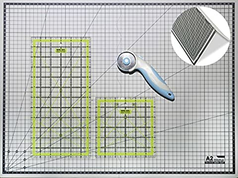 Cutting Mat A2 Foldable Self Healing Craft Board & Quilting Ruler Set / Non Slip Transparent Acrylic Quilters Inch Template 12x6