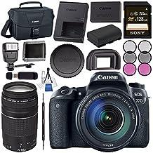 Canon EOS 77D DSLR Camera With 18-135mm USM Lens 1892C002 + Sony 128GB SDXC Card + LPE-17 Lithium Ion Battery + Universal Slave Flash Unit + Lens Cleaning Kit + Canon 100ES EOS Shoulder Bag Bundle