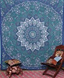 kaleidoscopic-star-hippie-bohemian intricate-floral-design indian-wall-hanging-bedspread mandala-tapestry 84x 90-inches- (215x 230-centimeters)