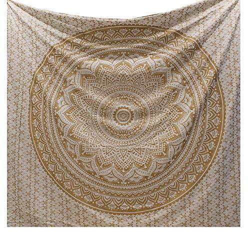 Raajsee Indisch Psychedelic Wandteppich Mandala Glänzend Gold weiß, Ein Perfektes Geschenk ,...
