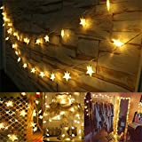 Battery Powered Fairy Lights Stars LED String Lights FFNW 5M 40LEDs Decorative Lights for Outdoor, Indoor, Bedroom, Garden, Party, Christmas, Birthday, Wedding (Warm White)