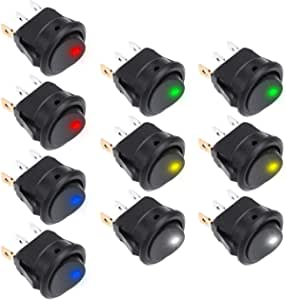 Rovtop 10 Pieces Toggle Switch Dc 12 V 20 A Car Boot Truck Trailer Illuminated Round Switch Rocker Button With 5 Colour Led Dot Light Auto