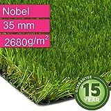 Kunstrasen Rasenteppich Nobel für Garten - Florhöhe 35 mm - Gewicht ca. 2680 g/m² - UV-Garantie 12 Jahre (DIN 53387) - 2,00 m x 0,50 m | Rollrasen | Kunststoffrasen