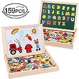 MOVEONSTEP Magnetische Puzzles Holz Reißbrett 159 STÜCKE Pädagogisches Doppel Gesicht Spielzeug Lernspiele für Kinder 3 4 5 6---Farm Tiere + Alphabet Buchstaben + Zahlen