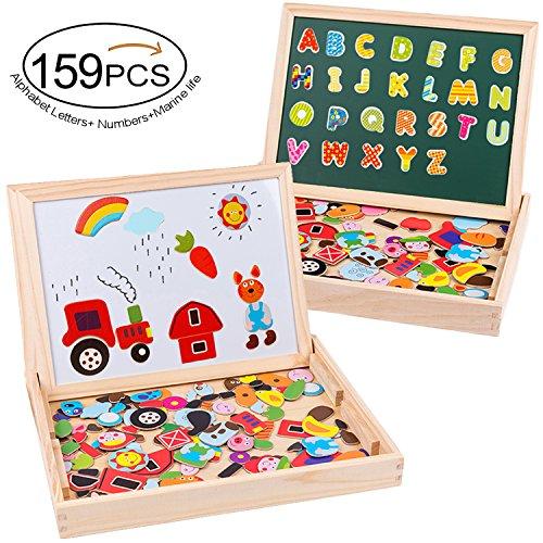 MOVEONSTEP Puzzles Rompecabezas Magnéticos de Madera 159 PCS Tablero de Dibujo Juguete Educativo de Doble Cara para Niños 3+--Granja + Alfabeto + Números