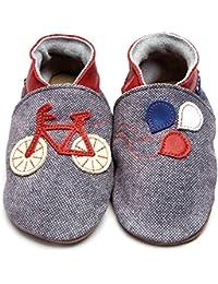 Inch Blue-Zapatos de niñas niños funda de piel suave único para cochecito de bebé para bicicleta azul/rojo