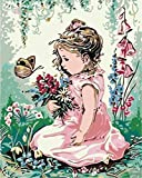 WOWDECOR Malen nach Zahlen Kits Geschenk für Erwachsene Kinder, DIY Ölgemälde Home Haus Dekor - Rosa Kleid Mädchen Blumen Schmetterling 16 x 20 Zoll (Z16, Rahmen)