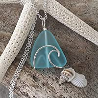 Handmade in Hawaii, wire wrapped ocean wave blue sea glass necklace, sterling silver chain, Hawaiian Gift, FREE gift wrap, FREE gift message, FREE shipping