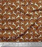 Soimoi Marron Poly Georgette en Tissu Feuilles et Rennes Animal Tissu Imprime Metre 42 Pouce Large