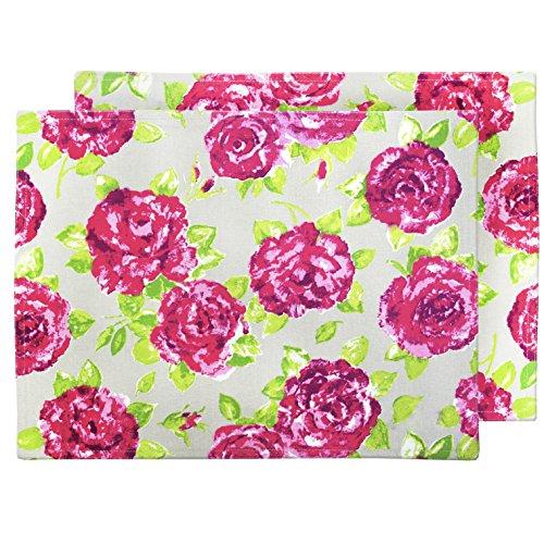 Ragged Rose Motif Floral Rose Style Vintage Coton Taupe-Lot de 2 Sets de Table