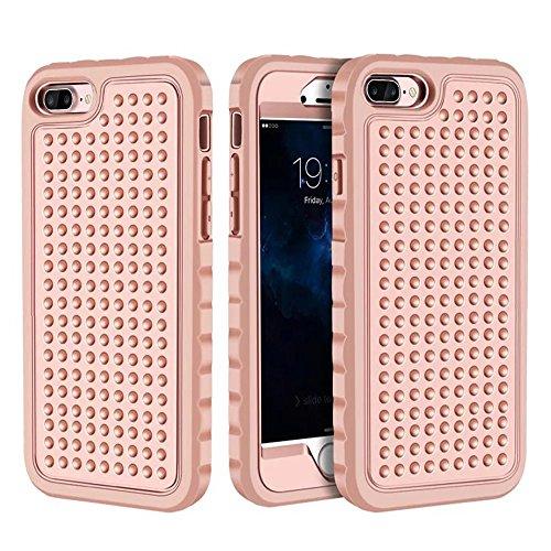 iPhone 7 Hülle,Lantier 3 in 1 Combo Einzigartige Anti-Rutsch Textur Shockproof Rugged Rüstung Schutzhülle für iPhone 7 4.7 inch Grau+Mint Grün Rose Gold