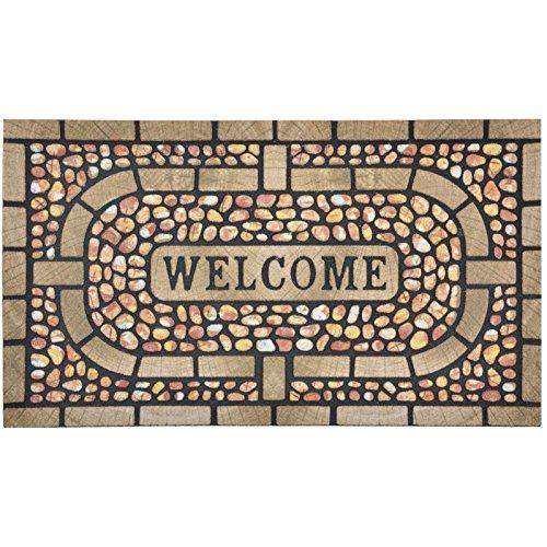 Micro-Pro Flocked Rubber Welcome Brown Mosaic Design Doormat Floor 75cm Indoor Outdoor