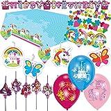 66-teiliges Deko-Set * EINHORN * für Kindergeburtstag oder Motto-Party // mit Trinkhalme + Tischdecke + Konfetti + Girlande + Luftballons + Luftschlangen + Figuren-Kerzen // Fairy Filly Unicorn Kinder Geburtstag Dekoration