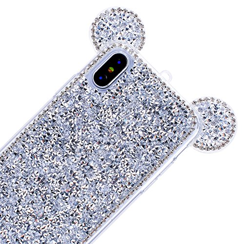 GrandEver iPhone X Hülle Glitzer Weiche Silikon Handyhülle Diamant Maus Ohren Gel Bling TPU Bumper Schutzhülle für iPhone X Rückschale Klar Handytasche Anti-Kratzer Stoßdämpfung Ultra Slim Rückseite S Silber