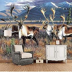 GBHL Fondo 3d Gran pintura al óleo Elk Wall Murals De Pared Habitación de hotel para sala de estar Restaurante, 300x210 cm (118.1 por 82.7 in)