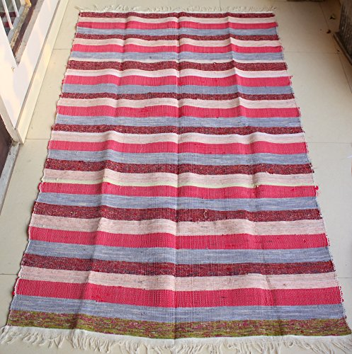 Hand Loomed Recycled Cotton Red Stripe Rag Rug, Mat 180,3 x 111,8 cm multicolore a righe di mango Gifts India