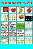 LAMINATED NUMBERS (1-20) POSTER | CHILDREN EARLY LEARNING EDUCATIONAL MATH SCHOOL TYPE POSTER WALL CHART