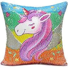 Unicorn Throw Pillow Cover, An-sell Mermaid Unicorn Impreso Funda de Almohada Reversible Lentejuelas