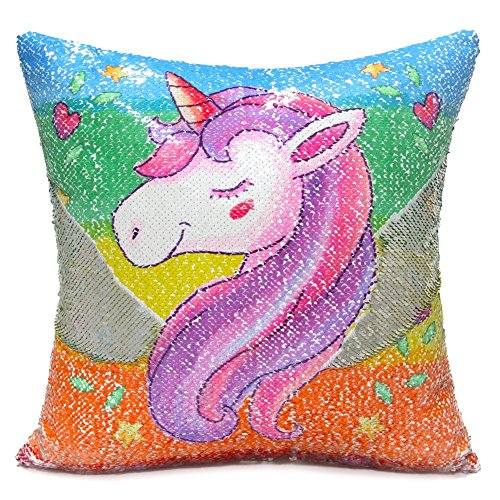 "Unicorn Throw Pillow Cover, An-sell Mermaid Unicorn Impreso Funda de Almohada Reversible Lentejuelas Decorative Cojines para Cojines 16 ""x16"""
